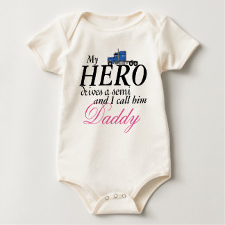Daddy's My Hero - Truck Driver Baby Bodysuit