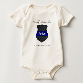 Daddy's Reason Police Thin Blue Line Badge Baby Bodysuit