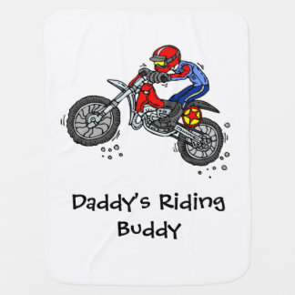 Daddy's Riding Buddy Motocross Baby Blanket