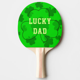 Dad's Bright Green Lucky Ping Pong Paddle