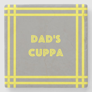 Dad's Cuppa - Yellow Lines Stone Coaster