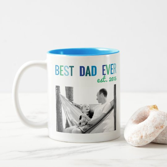 Dads Custom Photo Best Dad Ever with Year Father's Two-Tone Coffee Mug
