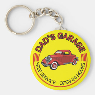 Dad's Garage for father who has car workshop Basic Round Button Keychain