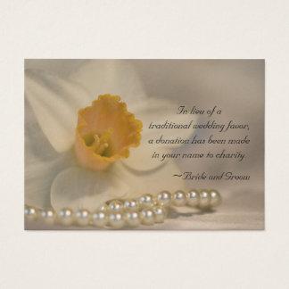 Daffodil and Pearls Wedding Charity Favor Card