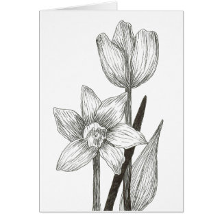 Daffodil and Tulip Note Card