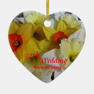 Daffodil Anniversary Keepsake Ceramic Ornament