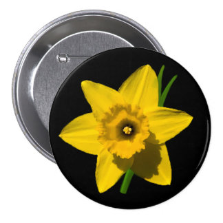 Daffodil badge St.David's Day large size 3 Inch Round Button