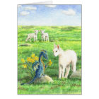Daffodil Dragon and Lamb (Spring/Easter) card