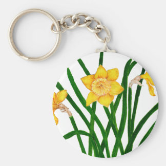 Daffodil Flowers Watercolour Painting Artwork Keychain