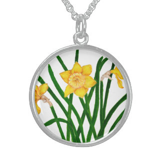 Daffodil Flowers Watercolour Painting Artwork Sterling Silver Necklace