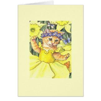 Daffodil Kitten Blank Note Card