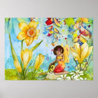 Daffodil Pixie Watercolour Poster