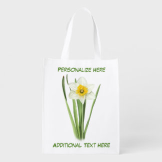 Daffodil Spring Flower Personalized Reusable Grocery Bag