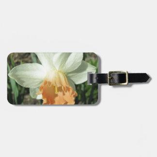 Daffodil White and Orange Luggage Tag