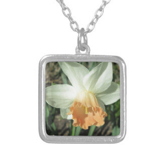 Daffodil White and Orange Silver Plated Necklace