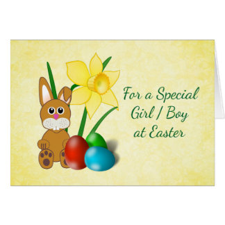 Daffodils and Bunny Easter Card for Kids