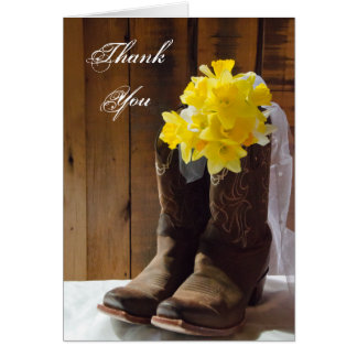 Daffodils and Cowboy Boots Bridesmaid Thank You Card