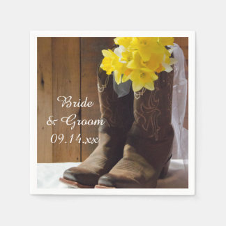 Daffodils and Cowboy Boots Country Western Wedding Disposable Napkin