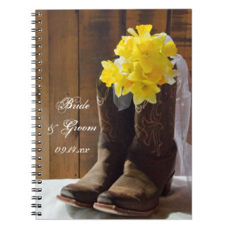 Daffodils and Cowboy Boots Country Western Wedding Spiral Notebooks