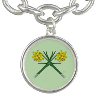 Daffodils Crossed Charm Bracelet