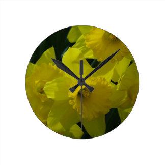 daffodils field wall clocks