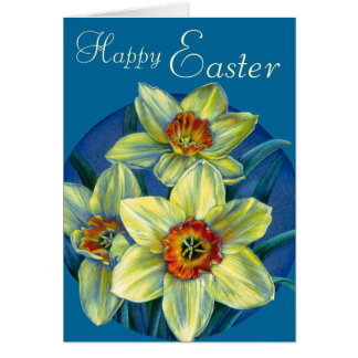"Daffodils ""Happy Easter"" yellow and blue card"