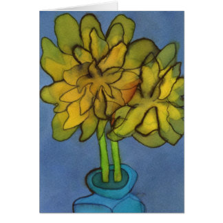 Daffodils in a Blue Vase Greetings Card