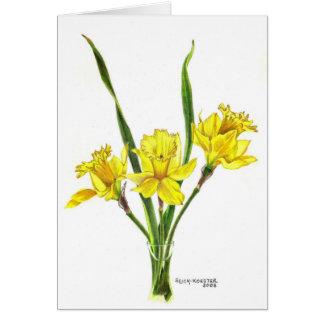 Daffodils in colored pencil card