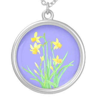 Daffodils Necklace: March Birth Month Flower Silver Plated Necklace