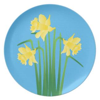 Daffodils on Blue Plate