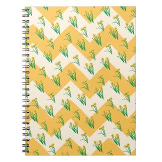Daffodils Pattern Spiral Note Books