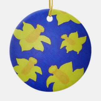 Daffodils Pop Art Blue Ceramic Ornament