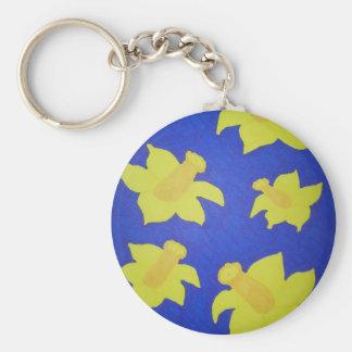 Daffodils Pop Art Blue Keychain
