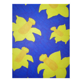 Daffodils Pop Art Blue Letterhead