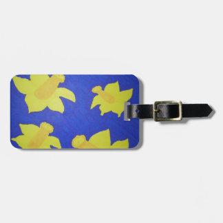Daffodils Pop Art Blue Luggage Tag