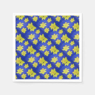 Daffodils Pop Art Blue Paper Napkin