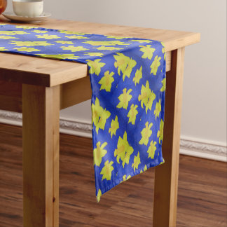 Daffodils Pop Art Blue Short Table Runner