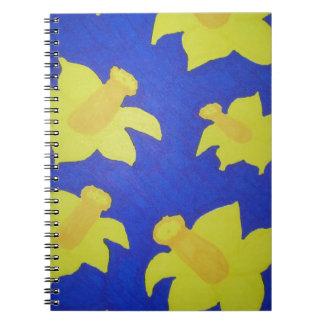 Daffodils Pop Art Blue Spiral Notebooks