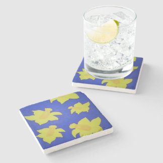 Daffodils Pop Art Blue Stone Coaster