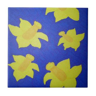 Daffodils Pop Art Blue Tile