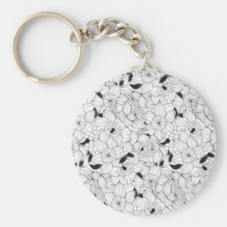 Daffodils spring floral pattern basic round button keychain