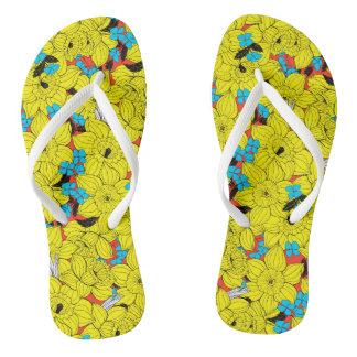 Daffodils spring floral pattern flip flops