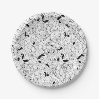Daffodils spring floral pattern paper plate