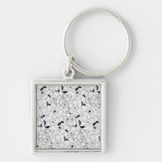 Daffodils spring floral pattern Silver-Colored square keychain
