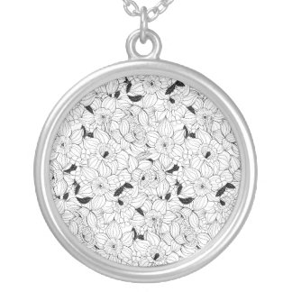 Daffodils spring floral pattern silver plated necklace