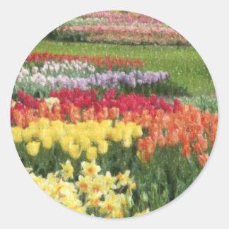 Daffodils Tulips Hyacinths Pencils Classic Round Sticker