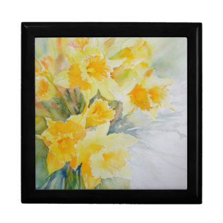 Daffodils watercolour jewellery box