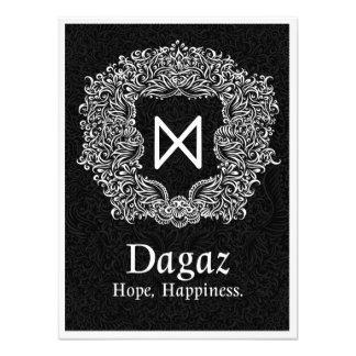 Dagaz /Happiness/ Black Version Photo Print