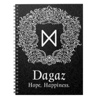 Dagaz /Happiness/ Black Version Spiral Notebook