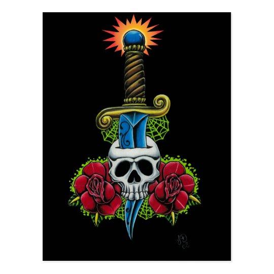 Dagger, Skull, and Roses Postcard